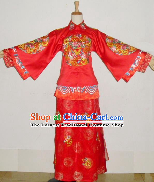 Chinese Traditional Xiuhe Suit Red Wedding Dresses Ancient Bride Embroidered Costumes for Women