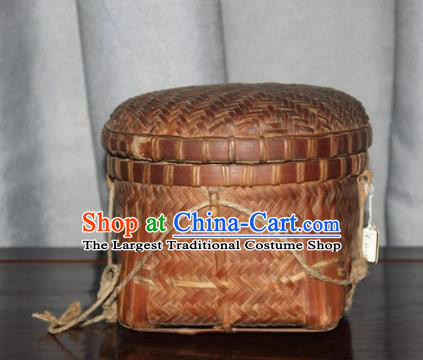 Chinese Ancient Handmade Straw Braid Craft Bamboo Basket Tea Box