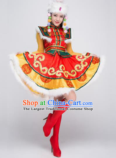 Chinese Traditional Mongol Ethnic Costumes Mongolian Minority Folk Dance Red Dress for Women