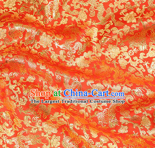 Chinese Traditional Red Brocade Tang Suit Silk Fabric Material Classical Dragons Pattern Design Satin Drapery