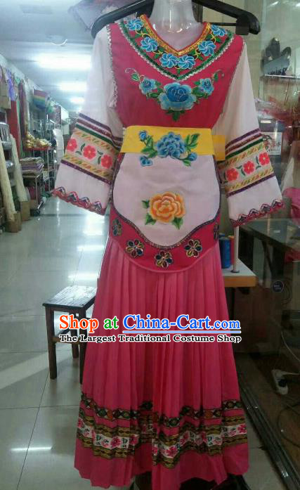 Chinese Traditional Ethnic Costumes Bai Minority Folk Dance Dress for Women