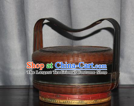 Chinese Ancient Handmade Straw Braid Craft Bamboo Basket Box Food Cabas