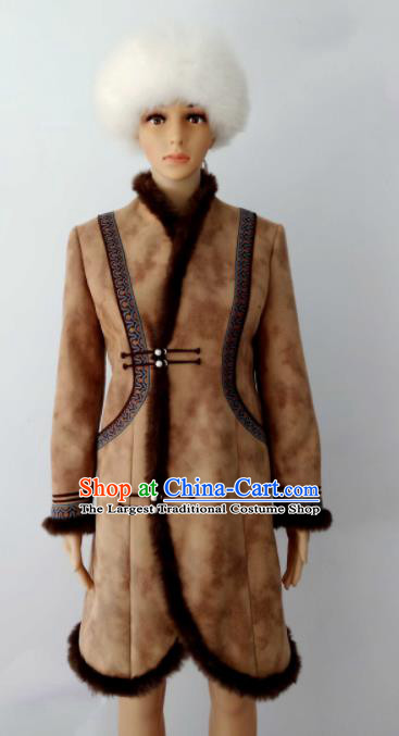 Chinese Traditional Ethnic Costumes Mongolian Minority Nationality Brown Robe for Women