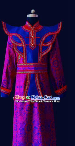 Chinese Traditional Mongol Minority Nationality Costume Purple Mongolian Robe for Men