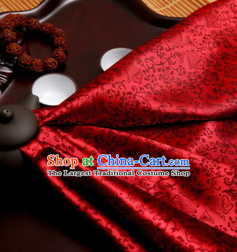 Chinese Traditional Brocade Classical Fishes Pattern Design Wine Red Silk Fabric Material Satin Drapery