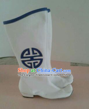 Chinese Traditional Ethnic Shoes Mongolian Minority Nationality White Leather Boots for Women