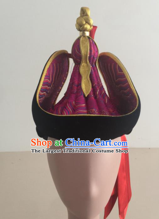 Chinese Traditional Ethnic Hat Mongolian Minority Nationality Folk Dance Purple Hat for Women