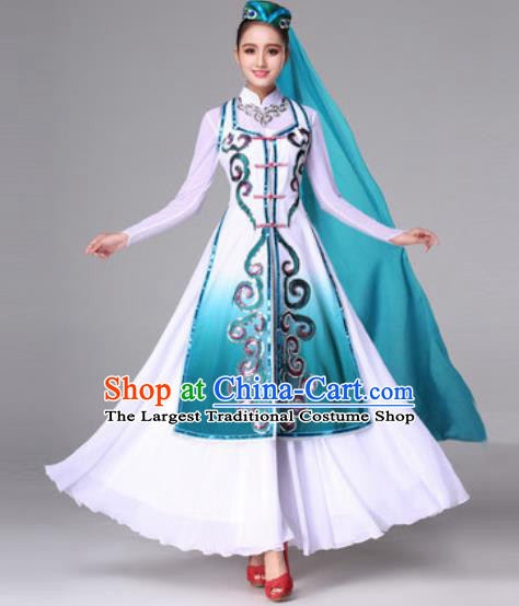 Chinese Traditional Ethnic Costumes Hui Minority Nationality Folk Dance Green Dress for Women
