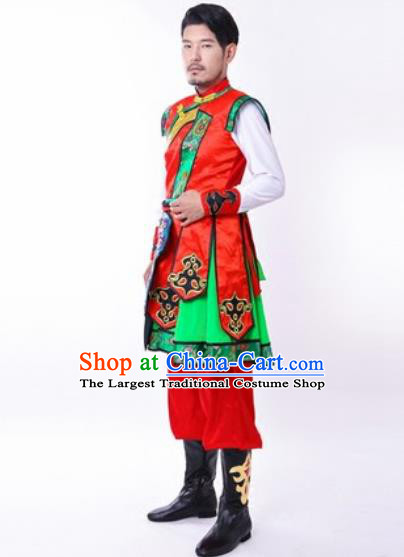 Chinese Traditional Folk Dance Red Costumes Mongolian Minority Dance Clothing for Men