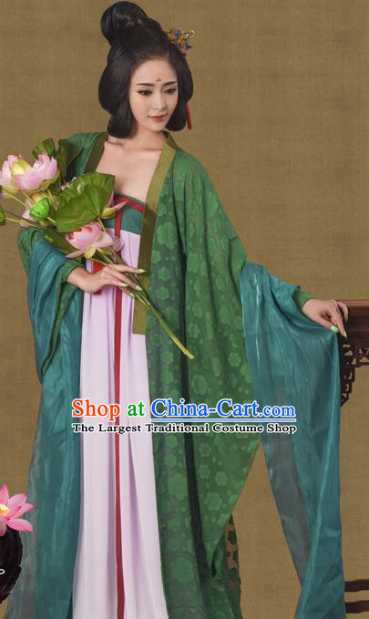 Chinese Traditional Tang Dynasty Hanfu Dress Ancient Imperial Concubine Embroidered Costumes for Women