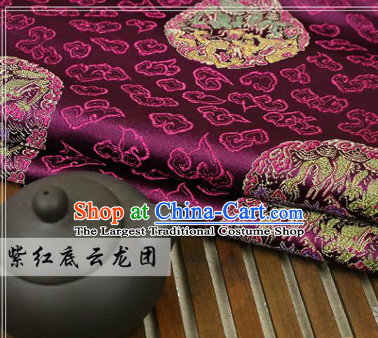 Purple Brocade Chinese Traditional Silk Fabric Material Classical Dragon Pattern Design Satin Drapery