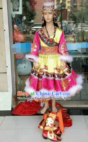 Chinese Traditional Zang Nationality Costumes Tibetan Folk Dance Ethnic Rosy Dress for Kids
