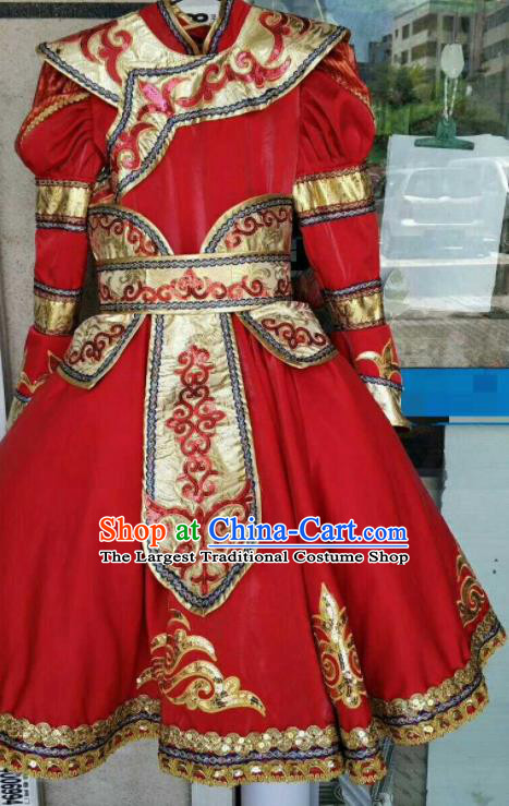 Chinese Traditional Mongol Nationality Costumes Mongolian Folk Dance Ethnic Red Dress for Kids