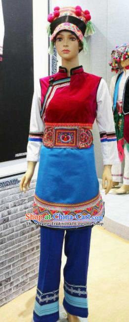 Chinese Traditional Bai Nationality Wedding Costumes Folk Dance Ethnic Dress for Women