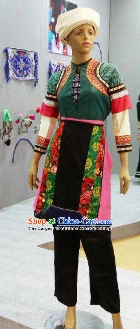 Chinese Traditional Bai Nationality Green Costumes Folk Dance Ethnic Dress for Women