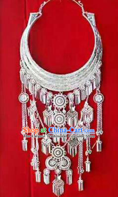 Chinese Traditional Miao Nationality Sliver Tassel Necklace Ethnic Wedding Jewelry Accessories for Women