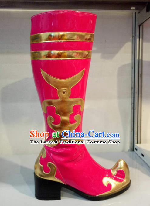 Chinese Traditional Mongol Nationality Dance Shoes Mongolian Folk Dance Ethnic Rosy Boots for Women