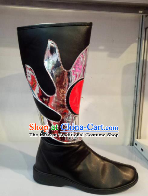 Chinese Traditional Mongol Nationality Shoes Mongolian Folk Dance Ethnic Black Boots for Women