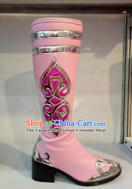 Chinese Traditional Mongol Nationality Shoes Mongolian Folk Dance Ethnic Light Pink Boots for Women
