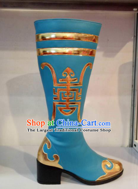 Chinese Traditional Mongol Nationality Shoes Mongolian Folk Dance Ethnic Blue Boots for Women