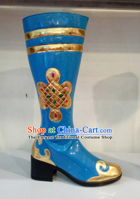 Chinese Traditional Mongolian Shoes Mongol Nationality Folk Dance Blue Boots for Women