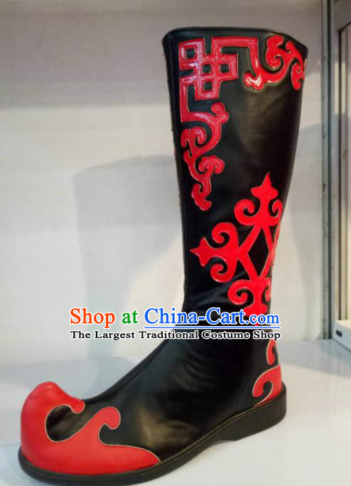 Chinese Traditional Mongolian Shoes Mongol Nationality Folk Dance Black Boots for Women