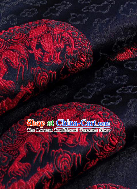 Chinese Traditional Tang Suit Black Brocade Classical Pattern Red Dragons Design Silk Fabric Material Satin Drapery