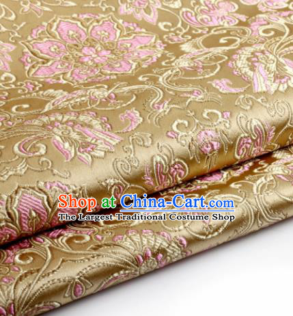 Chinese Traditional Tang Suit Golden Brocade Classical Lotus Pattern Dragons Design Silk Fabric Material Satin Drapery