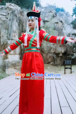 Chinese Traditional Mongol Nationality Costumes Mongolian Ethnic Folk Dance Red Dress and Hat for Women