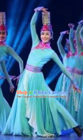 Chinese Traditional Mongol Nationality Costumes Mongolian Ethnic Folk Dance Blue Dress and Hat for Women