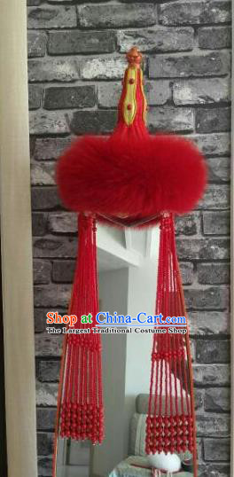 Chinese Traditional Mongol Nationality Dance Hair Accessories Mongolian Ethnic Red Hat for Women