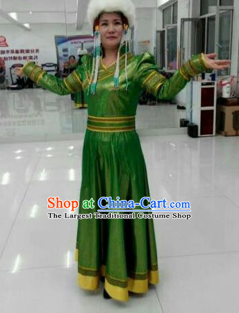 Chinese Traditional Mongol Nationality Costumes Mongolian Ethnic Folk Dance Green Dress and Hat for Women