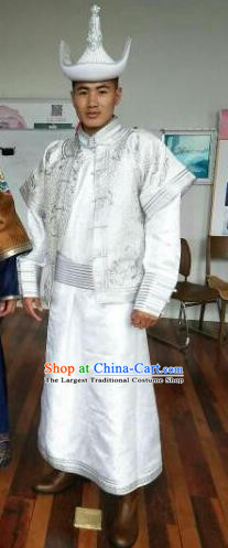 Chinese Traditional Mongol Nationality Costumes Mongolian Ethnic White Clothing and Hat for Men