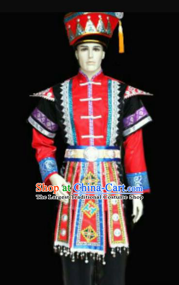 Chinese Traditional Miao Nationality Costumes Hmong Ethnic Clothing and Hat for Men