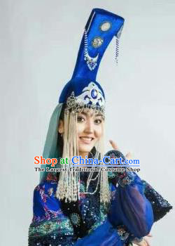 Chinese Traditional Mongol Nationality Headwear Mongolian Dance Ethnic Blue Hat for Women