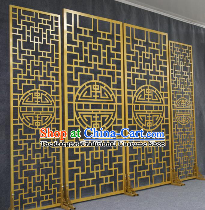 Chinese Traditional Wedding Golden Folding Screen Films Props Iron Floor Screen