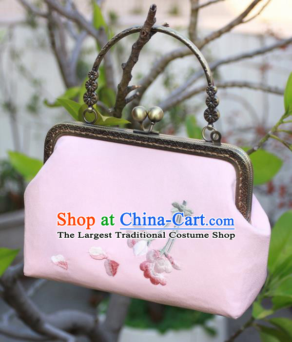 Chinese Traditional Handmade Embroidered Peach Blossom Pink Bags Retro Handbag for Women