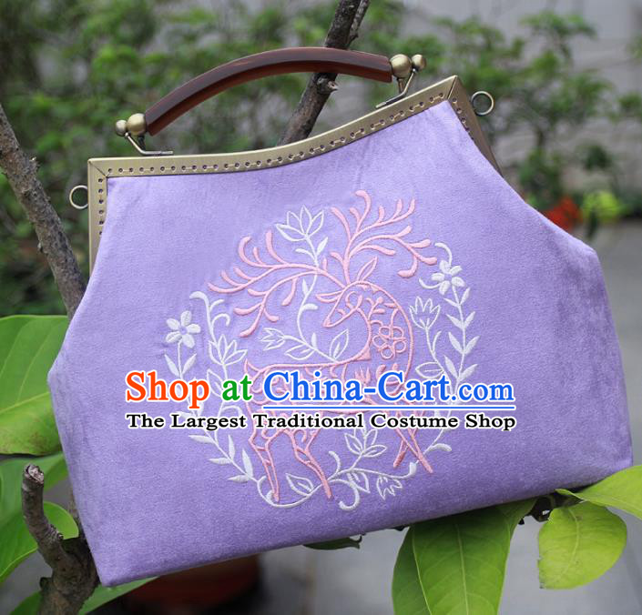 Chinese Traditional Handmade Embroidered Bags Retro Purple Handbags for Women