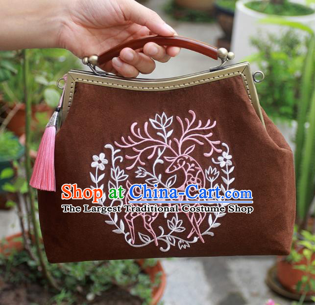 Chinese Traditional Handmade Embroidered Bags Retro Brown Handbags for Women