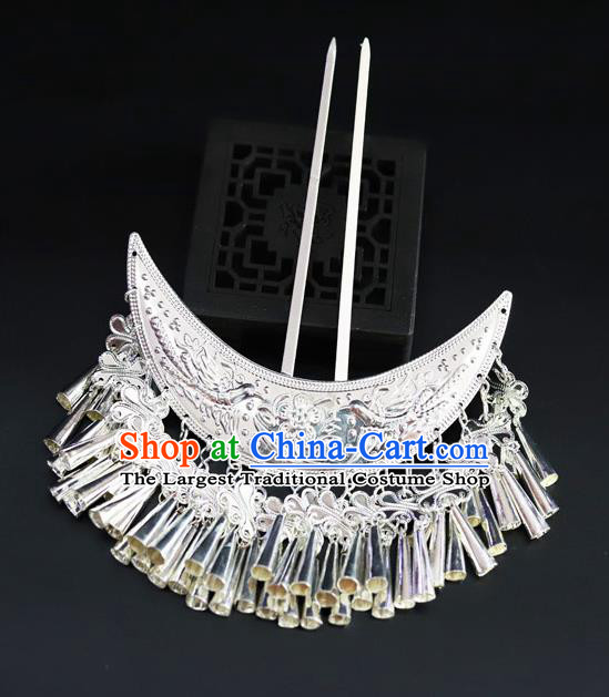 Chinese Traditional Miao Nationality Hair Accessories Carving Sliver Tassel Hairpins for Women