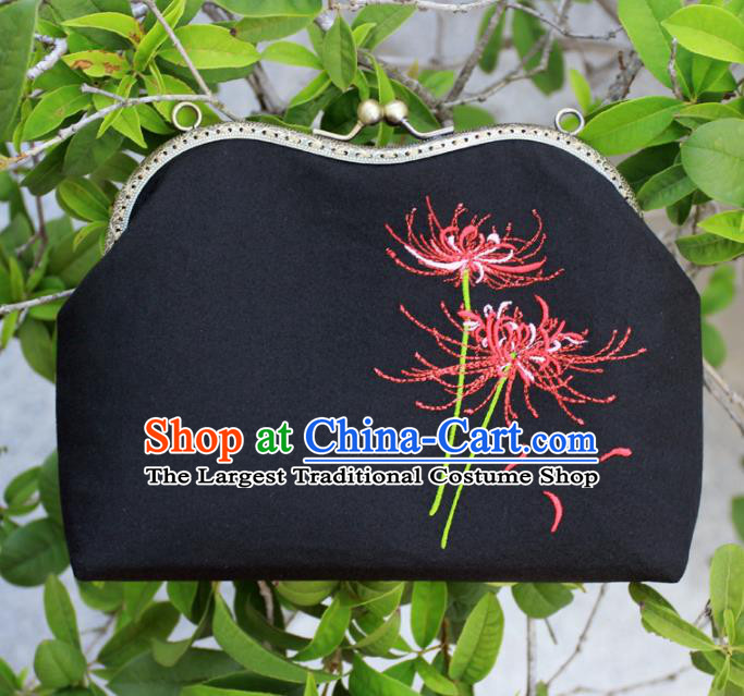 Chinese Traditional Handmade Embroidered Equinox Flower Black Bags Retro Handbag for Women