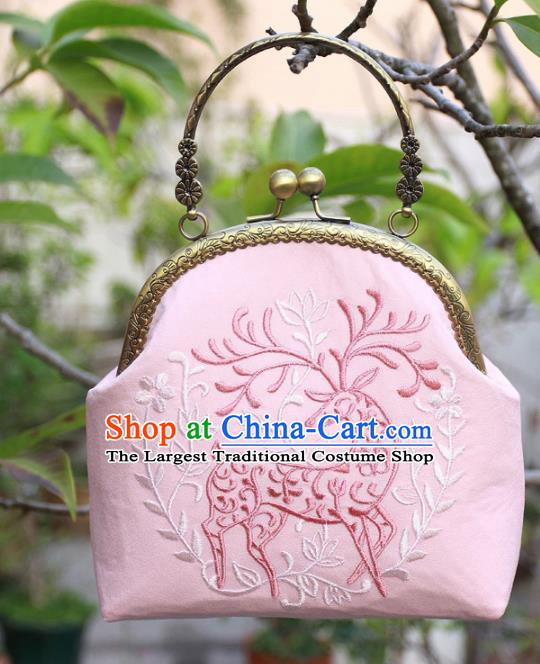 Chinese Traditional Handmade Embroidered Pink Bags Retro Handbag for Women