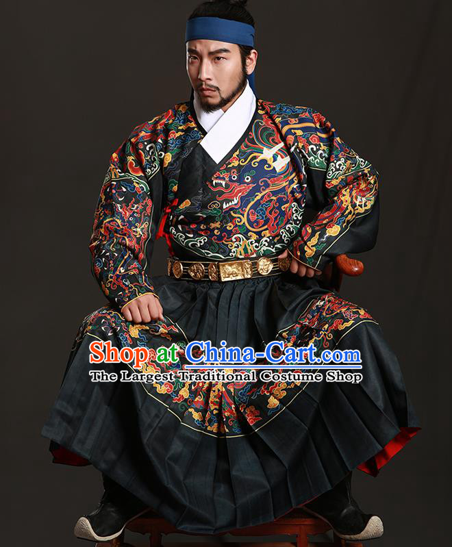 Chinese Traditional Ming Dynasty Imperial Bodyguard Clothing Ancient Blads Embroidered Black Costumes for Men