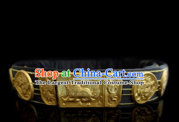 Chinese Traditional Ming Dynasty Imperial Bodyguard Waist Accessories Ancient Blads Leather Belts for Men