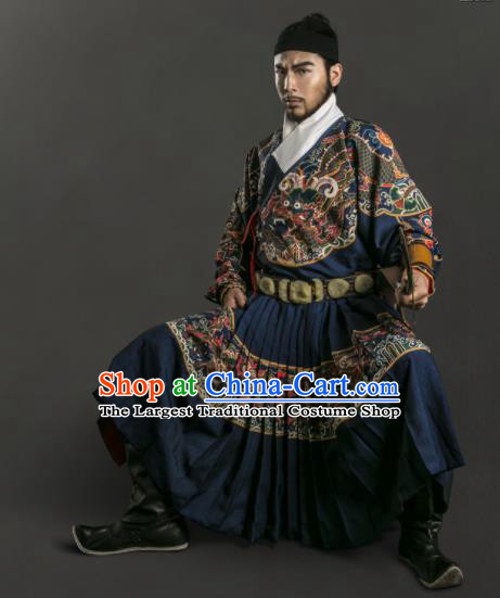 Chinese Traditional Ming Dynasty Blads Clothing Ancient Swordsman Embroidered Costumes for Men