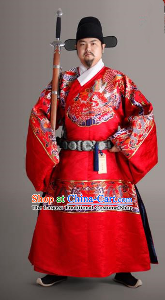 Chinese Traditional Ming Dynasty Chancellor Clothing Ancient Prime Minister Embroidered Costumes for Men