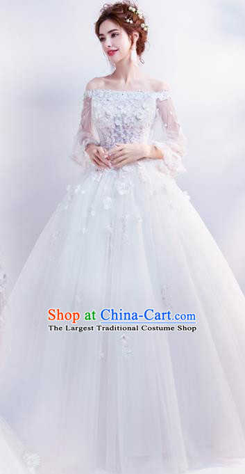 Top Grade Handmade Wedding Costumes Flat Shouders Wedding Gown Bride White Lace Full Dress for Women
