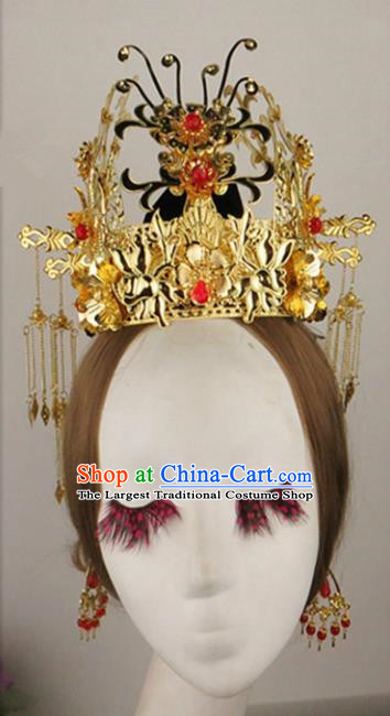 Chinese Traditional Bride Hair Accessories Ancient Golden Wedding Phoenix Coronet Hairpins for Women