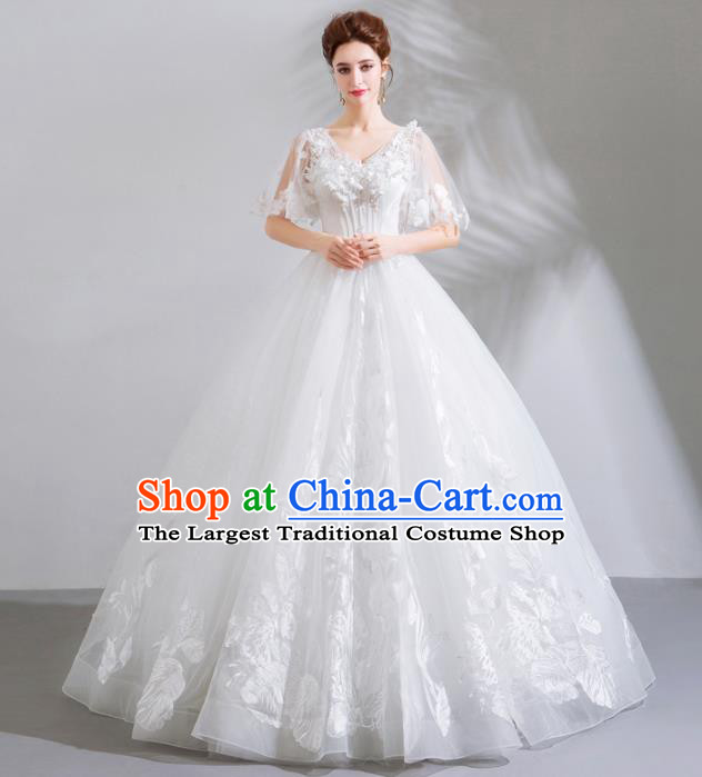 Top Grade Handmade Wedding Costumes Bride White Dress Princess Wedding Gown for Women