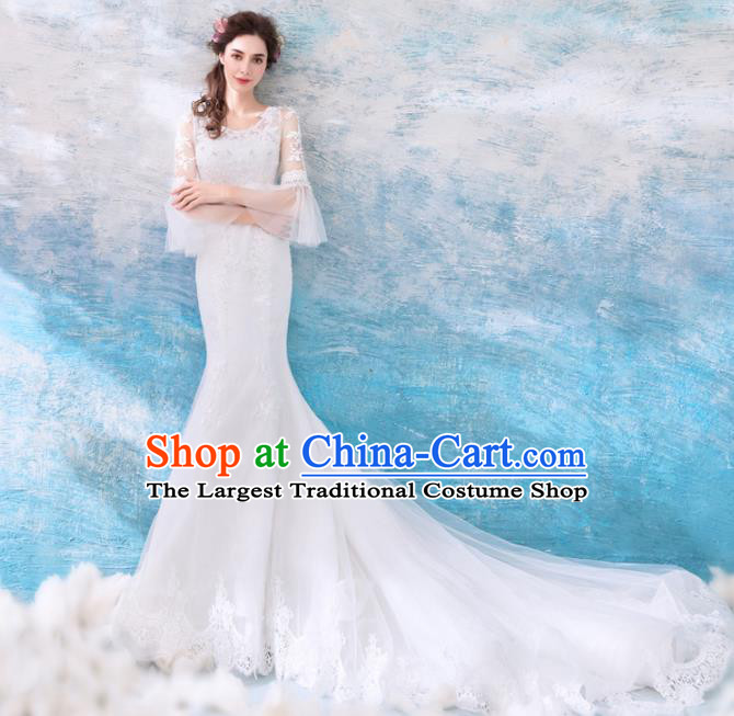 Top Grade Handmade Wedding Costumes Wedding Gown Bride White Mullet Full Dress for Women